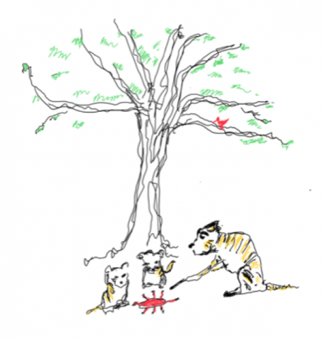 Illustration of tiger under a tree